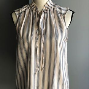 Loft pink striped sleeveless shell
